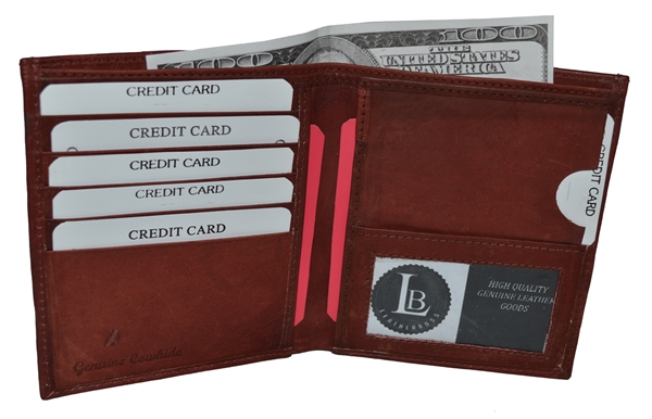 leatherboss usa  mens hipster wallet with side pocket